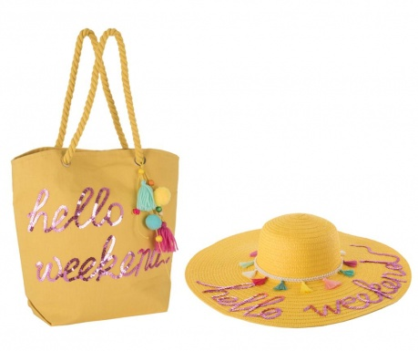 Set klobuk in torba za plažo Hello Weekend Yellow