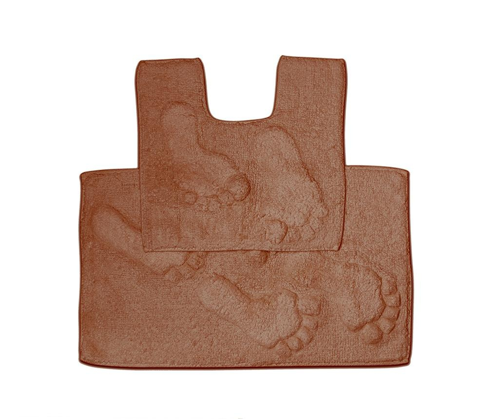 Set ručnik za noge i kupaonski tepih Loren Chocolate