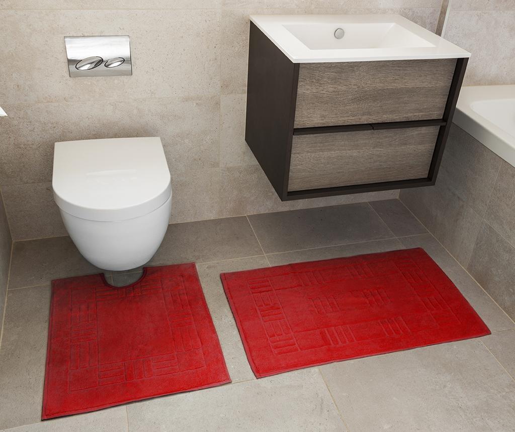 Set - brisača za na tla in kopalniška preproga Reversible Verica Red