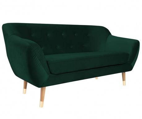 Amelie Bottle Green Natural Kétszemélyes kanapé