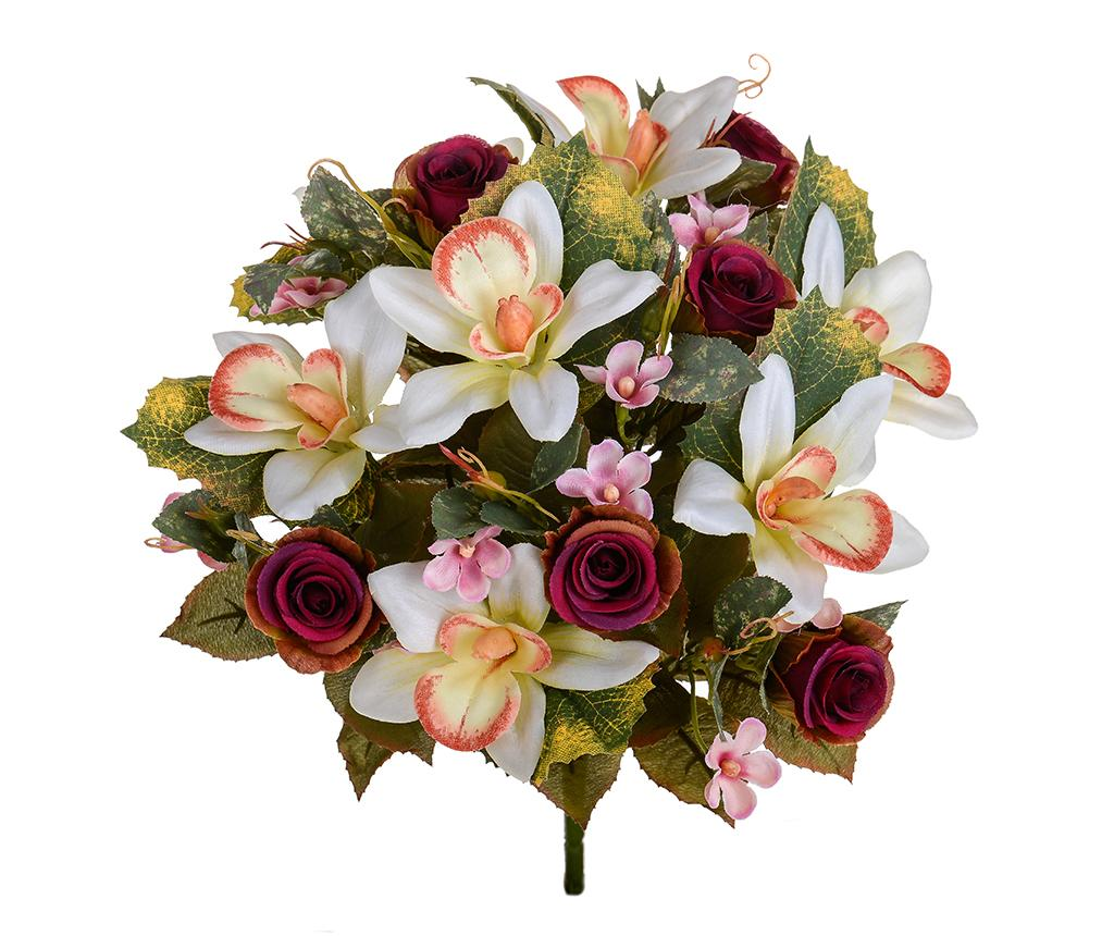 Buchet flori artificiale Orchids and Roses Burgundy - Dino Bianchi, Rosu