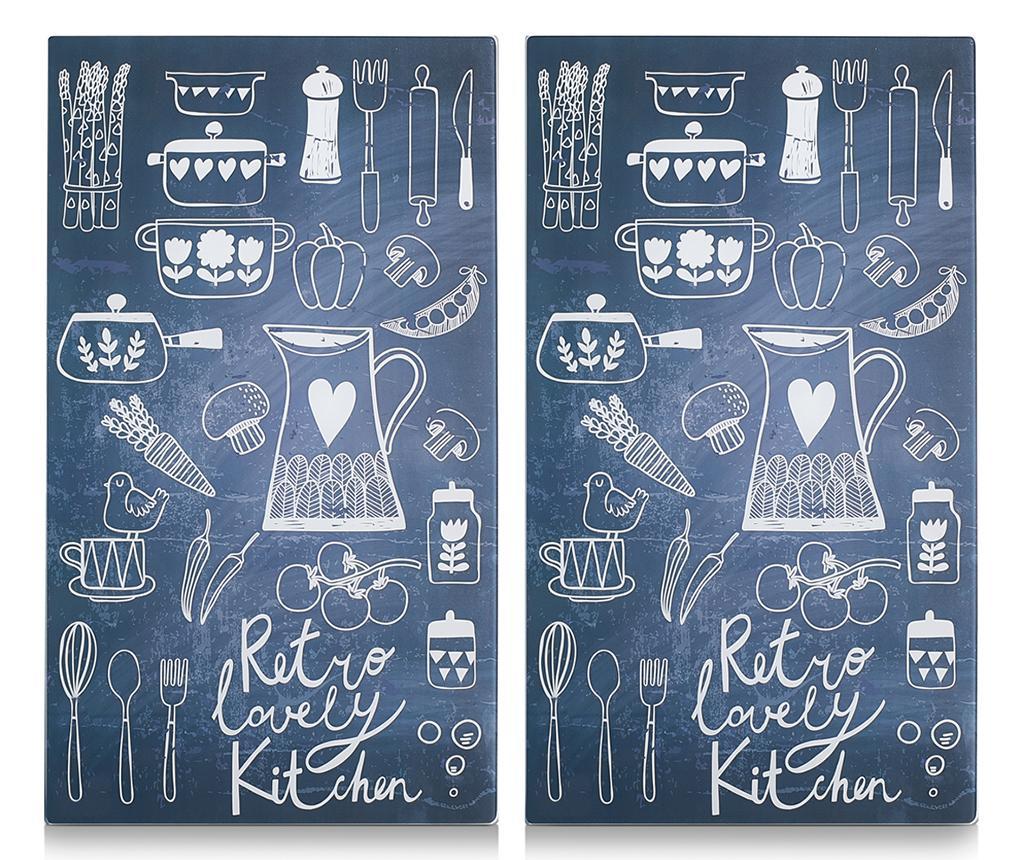Set 2 planse protectoare pentru plita Lovely Kitchen - Zeller, Negru imagine 2021