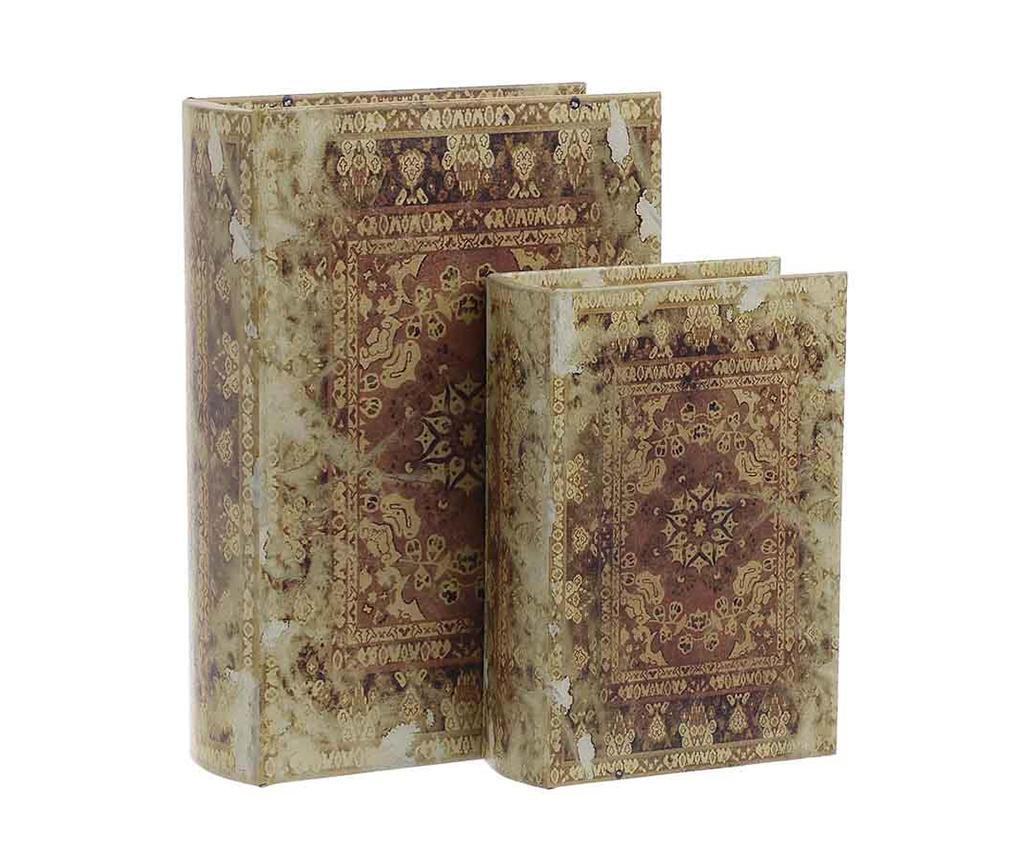 Set 2 cutii tip carte Vintage Words - inart, Crem