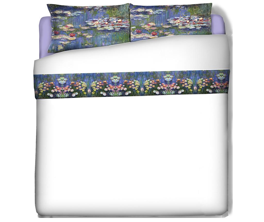 Set cearsaf de pat si fata de perna Single Extra Ranforce Monet Ninfee - Polo Ovest, Multicolor