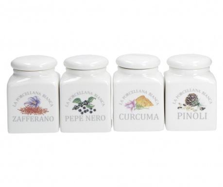 Set 4 recipiente cu capac pentru condimente Issabell Spice 175 ml