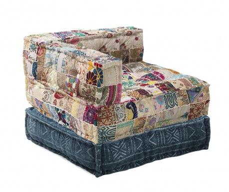 Zestaw pufa i poduszka podłogowa Yantra Beige Patch Blue