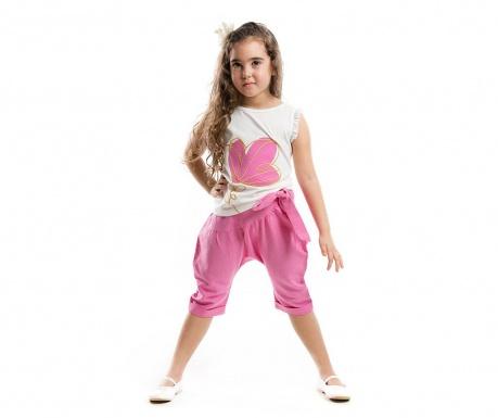 Set tricou si pantaloni trei sferturi pentru copii Flower Shalvar