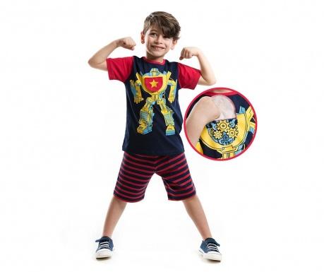 Set tricou si pantaloni scurti pentru copii Robot 2 ani