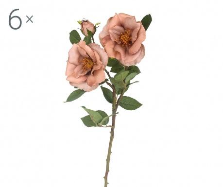 Sada 6 umělých květin Rosa Diadeem Mauve