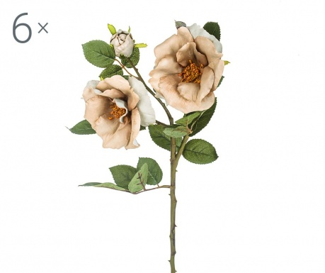 Sada 6 umělých květin Rosa Diadeem Grey