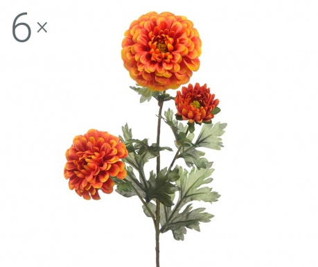 Set 6 flori artificiale Dahlia Orange