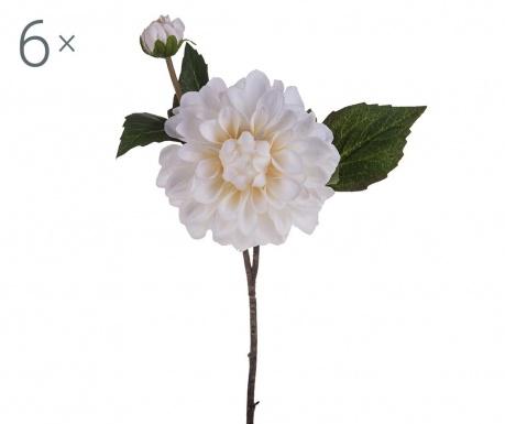 Sada 6 umělých květin Dahlia Romantique Cream