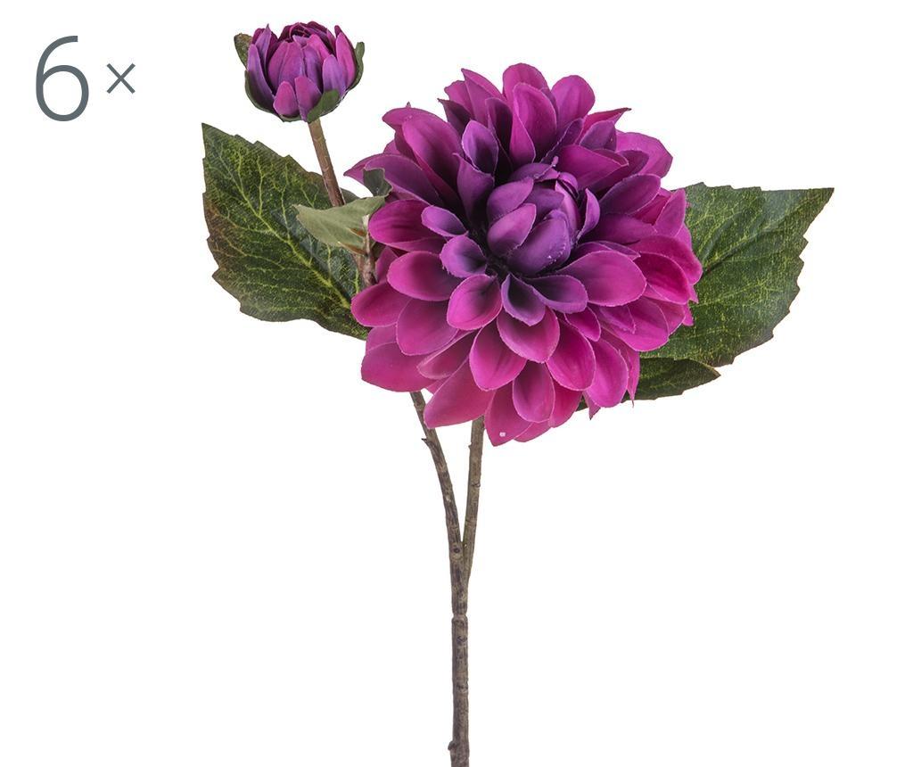 Set 6 flori artificiale Dahlia Romantique Burgundy