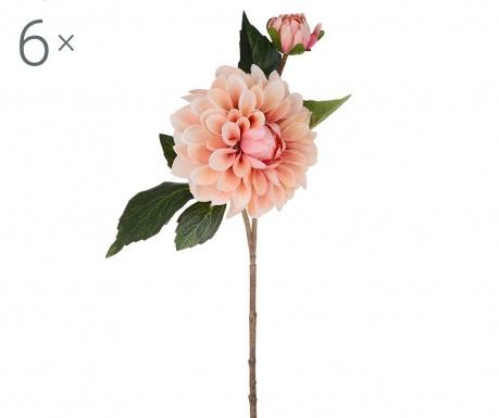 Sada 6 umělých květin Dahlia Romantique Peach