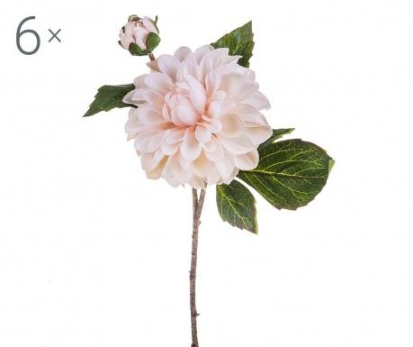 Sada 6 umělých květin Dahlia Romantique Cream Tea