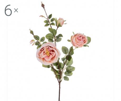 Sada 6 umělých květin Rosa Romantica Peach