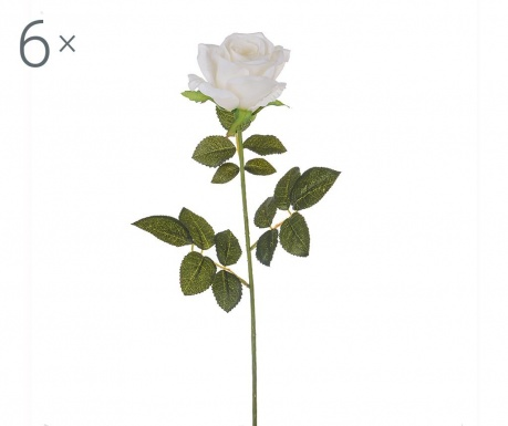 Set 6 flori artificiale White Rose