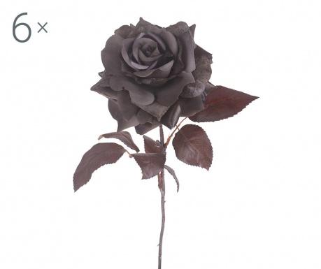 Sada 6 umělých květin Grey Rose
