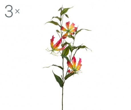 Set 3 flori artificiale Gloriosa Lilium Fuchsia
