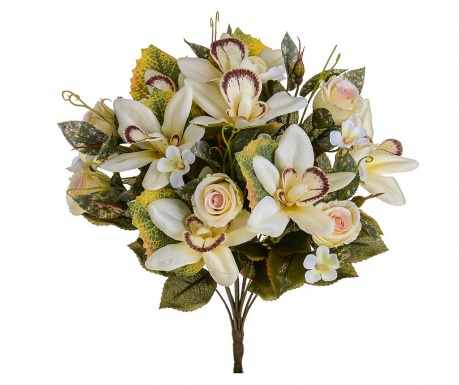Buchet flori artificiale Orchids and Roses Cream