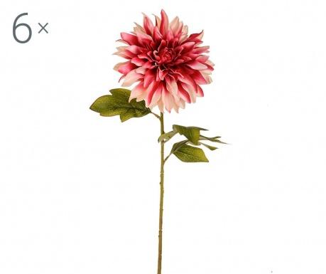 Sada 6 umělých květin Dahlia Single Cream Pink