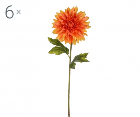 Set 6 flori artificiale Dahlia Single Orange
