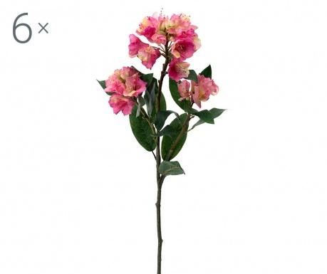 Sada 6 umělých květin Rhododendron Pink