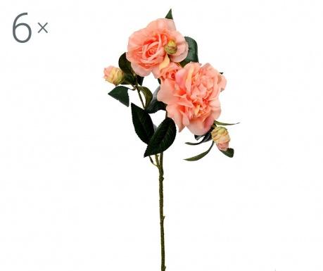 Sada 6 umělých květin Camellia Peach