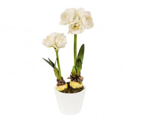 Umělá květina v květináči Amaryllis Doppio White