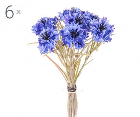 Sada 6 kytic umělých květin Cornflower