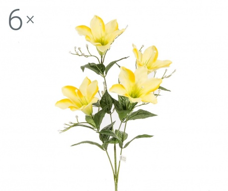 Set 6 flori artificiale Easter Lily Yellow