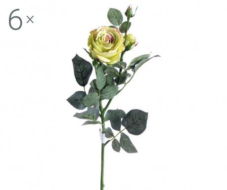Sada 6 umělých květin Green Rose