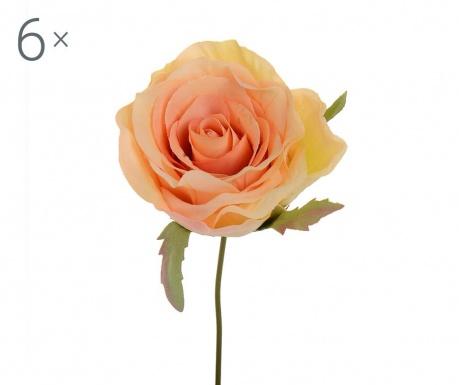 Sada 6 umělých květin Peach Rose Tiny