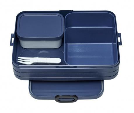 Κουτί γεύματος με 1 μαχαιροπήρουνο Bento Blue M