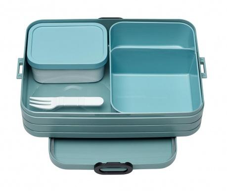 Škatla za hrano z 1 kosom jedilnega pribora Bento Green M