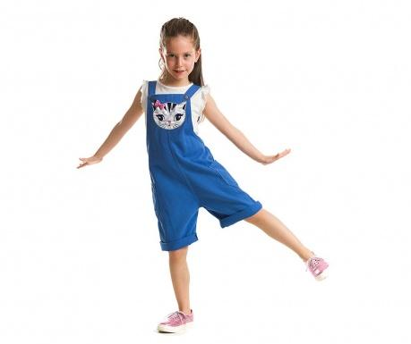Set tricou si salopeta scurta pentru copii Cat Applique