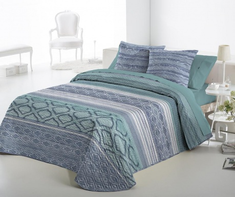 Set s prešitim posteljnim pregrinjalom King Fransin Blue