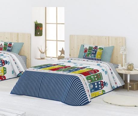 Set s prešitim posteljnim pregrinjalom King Gea Blue