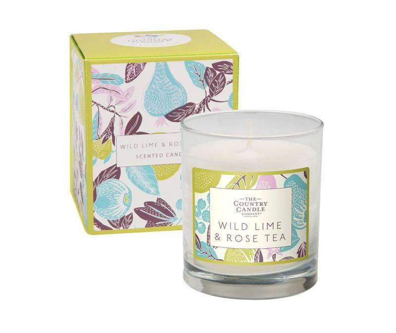 Vonná svíčka Fragrant Orchard Wild Lime and Rose Tea Glass