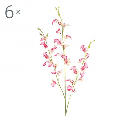 Sada 6 umělých květin Orchidea Beauty Pink