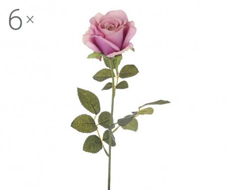 Set 6 umjetnih cvjetova Rosa Aperta Mauve