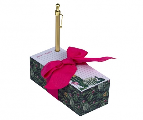 Комплект кубче с бележки и химикал Cactus