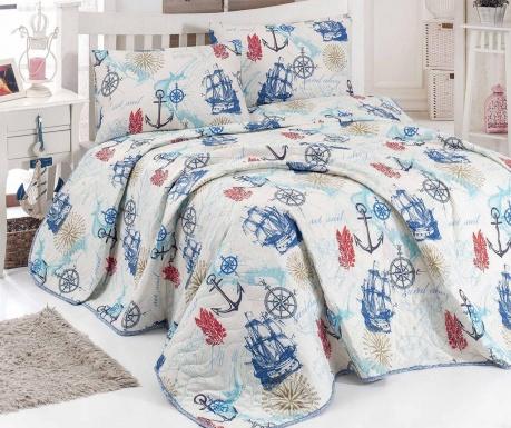 Set s prešitim posteljnim pregrinjalom Single Marine