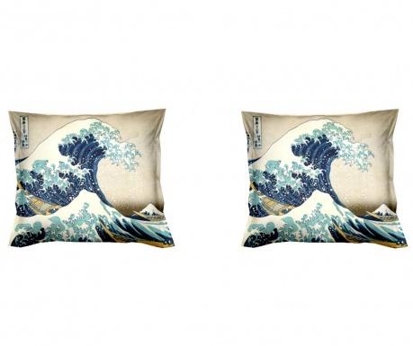 Set 2 prevlek za vzglavnik Hokusai The Great Wave 40x40 cm