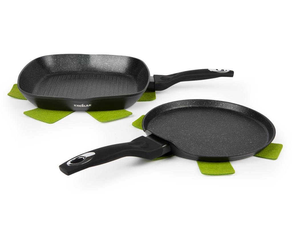 Set tigaie grill si tigaie pentru clatite Ecoenergy - Excelsa, Negru