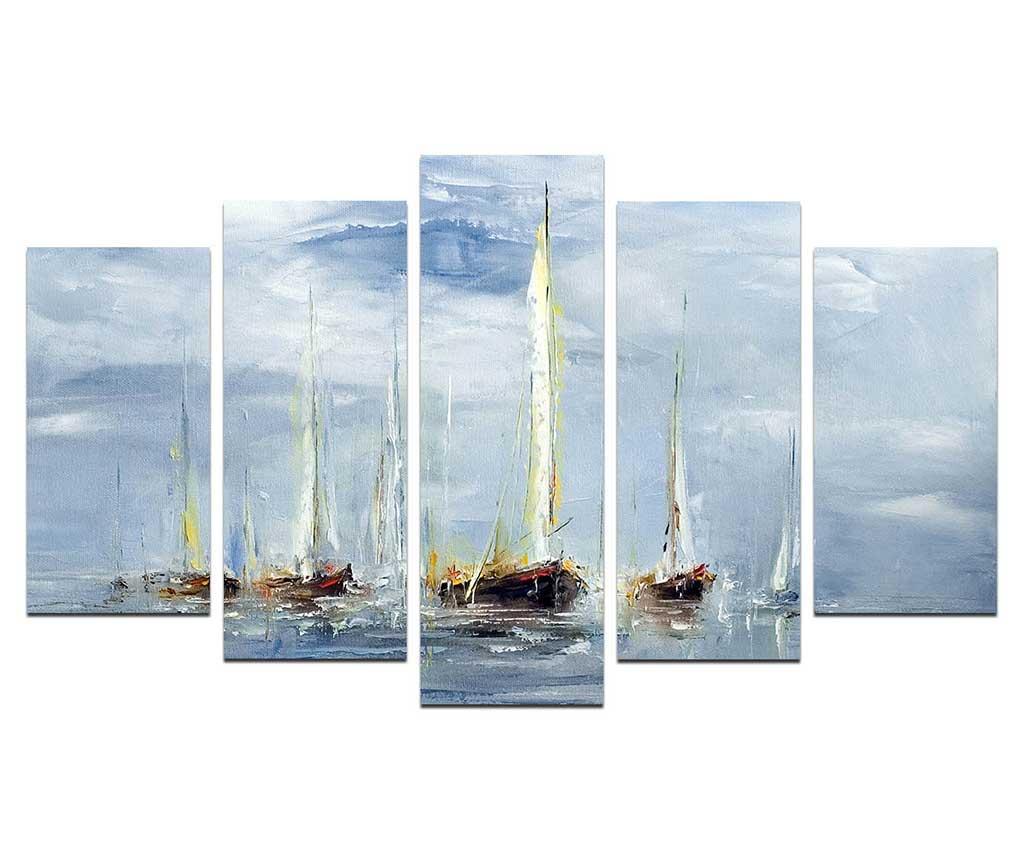 Set 5 tablouri Windy Days - Melody, Albastru