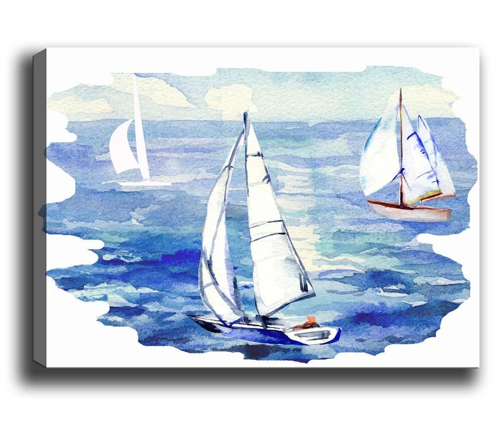 Tablou Boats 40x60 cm - Tablo Center, Alb,Albastru
