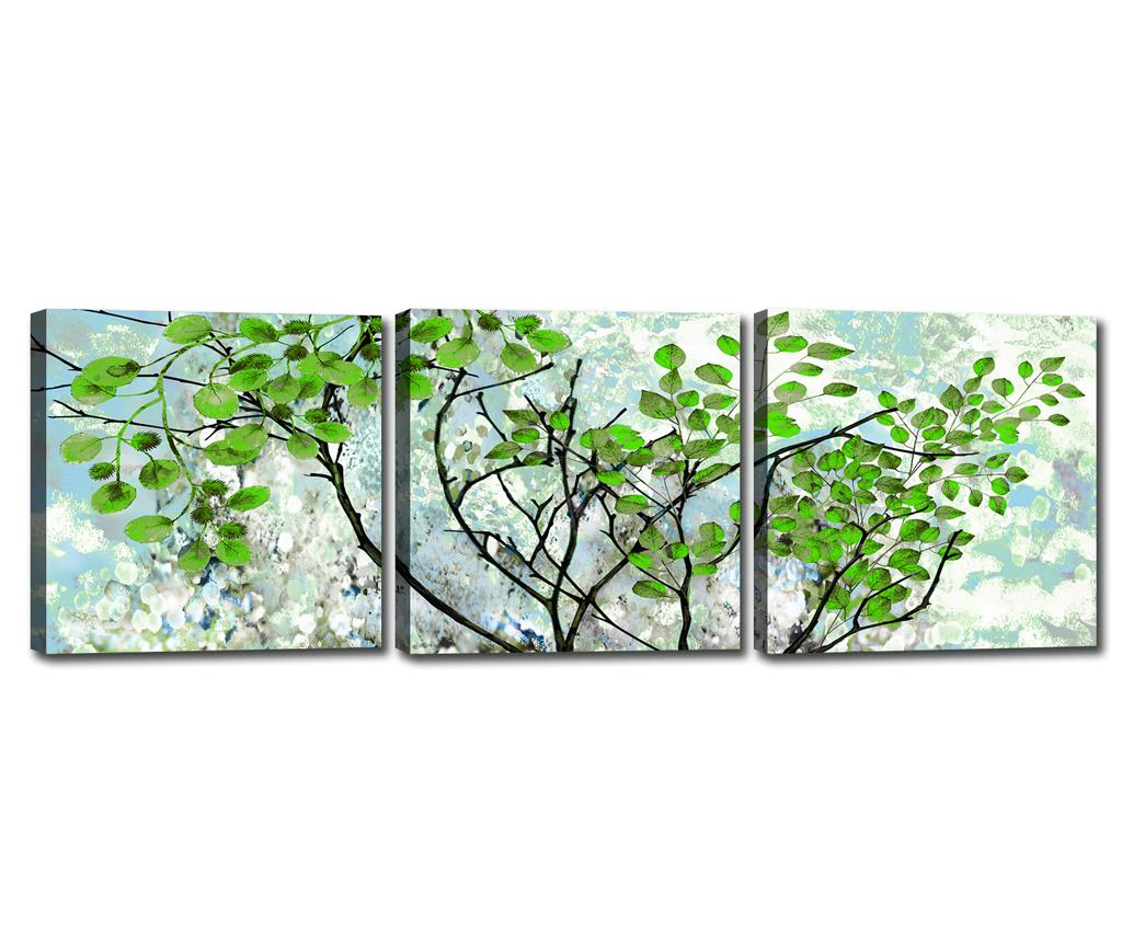 Set 3 tablouri Branches 30x30 cm - Tablo Center, Albastru,Verde