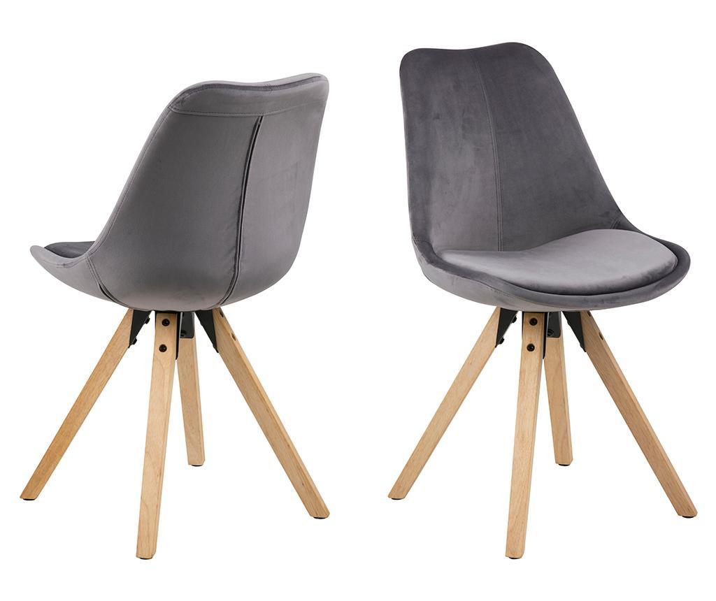 Set 2 scaune Dima Soft Dark Grey - actona, Gri & Argintiu