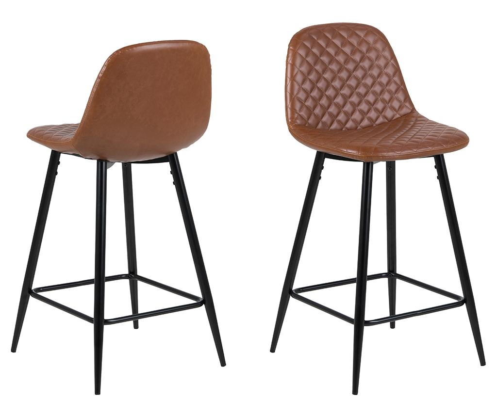 Set 2 scaune de bar Wilma Mini Vintage Brandy - actona, Maro